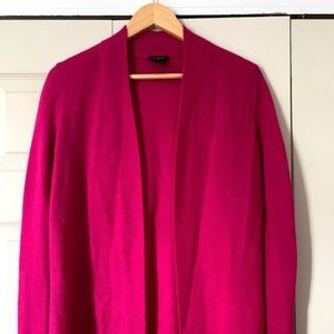 Ann Taylor Hot Pink Open Front Cardigan